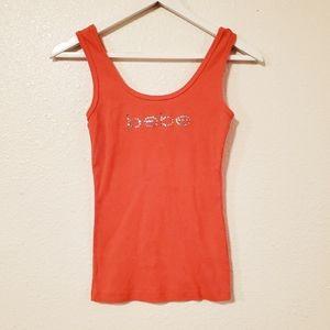 Bebe Red Orange Embellished Tank Top
